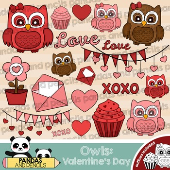 Valentine's Day Owls Theme Clip Art - Color and Black & Wh
