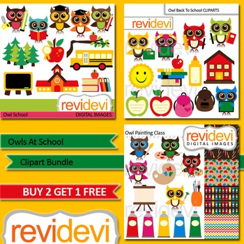 Cute Owls at School Clip art (3 packs)