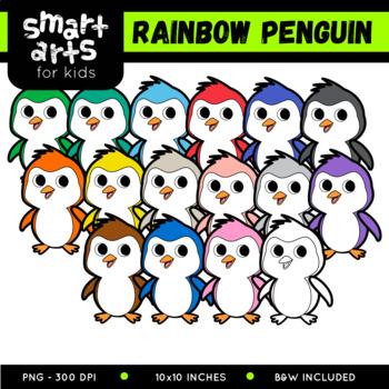 Cute Penguin Digital Clipart - Multicolored