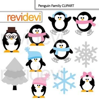 Cute Penguin Family Clip Art