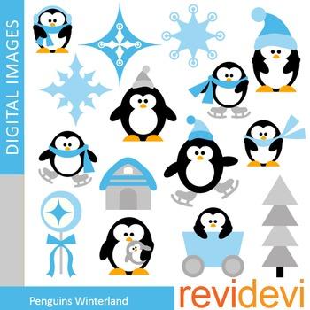 Cute Penguins Clip art (winter, snowflakes, blue)