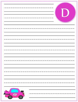 """Writing Lined Paper Personalized """"D"""" Girl"""