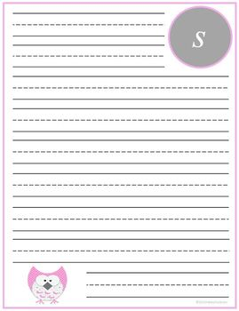 "Writing Lined Paper Personalized ""S"" Girl"