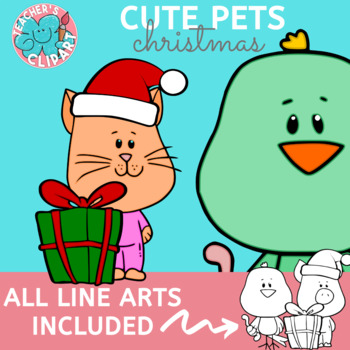 Cute Pets on PJs Clipart
