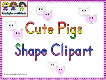Cute Pig Shape Clipart