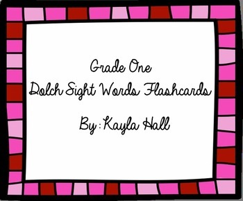 Cute Pink 1st Grade Dolch Sight Word Flashcards