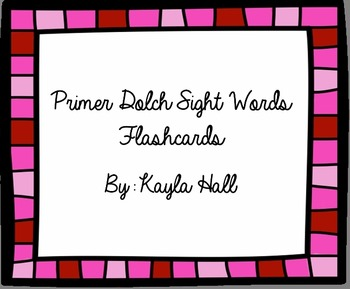 Cute Pink Primer Dolch Sight Word Flashcards