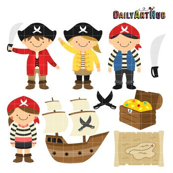 Cute Pirates Clip Art - Great for Art Class Projects!