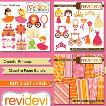 Cute Princes Pink Orange Clip art (3 packs)