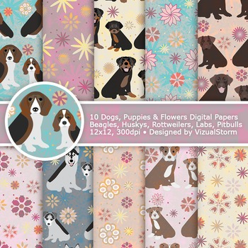 Dog Digital Paper, 10 Printable Patterns of Puppies, Dogs