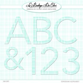 Cute Blue Gingham Alphabet Clipart