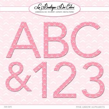 Cute Pink Chevron Alphabet Clipart
