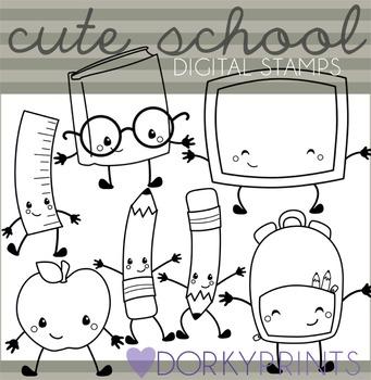 Cute School Blackline Clipart
