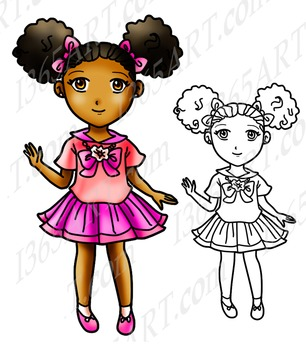 Cute School Girl With Afro Puffs Chibi Clipart, Digital St