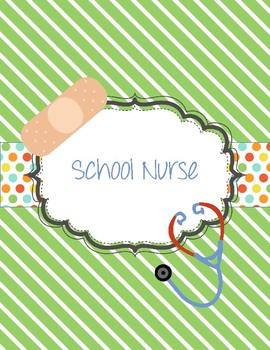 Cute School Nurse binder for 2016-2017 with stripes and po