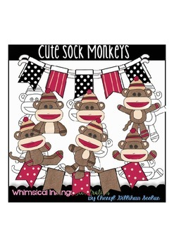 Cute Sock Monkeys Clipart Collection