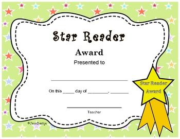 Cute Star Reader Award End Of The Year Certificate Pre K -