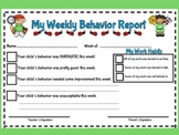 Cute Teacher Friendly Weekly Behavior Report