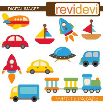 Cute Transportation Clip Art (cars, rockets, boats) vehicl