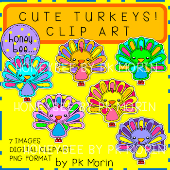 Cute Turkeys Clip Art