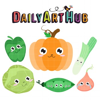 Cute Vegetables Clip Art - Great for Art Class Projects!