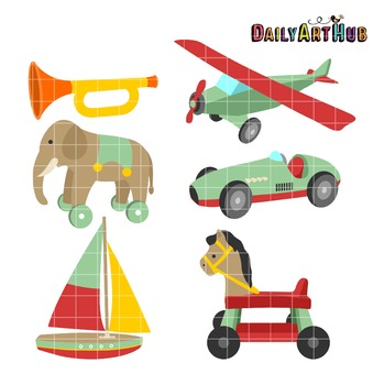 Cute Vintage Toys Clip Art - Great for Art Class Projects!