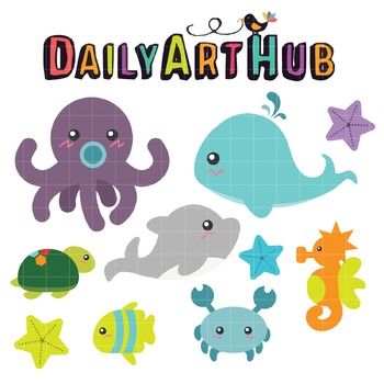 Cute Water Creatures Clip Art - Great for Art Class Projects!