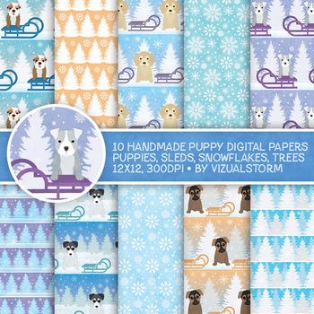 Cute Winter Puppy Digital Paper - 10 Holiday Puppies, Slei