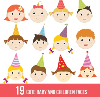 Cute baby,children faces,kid,digital clipart,clip art set,