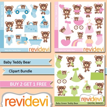 Cute baby teddy bear clip art (3 packs)