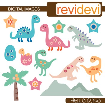 Cute dinosaur clip art in pastel colors (dino clipart) 07286