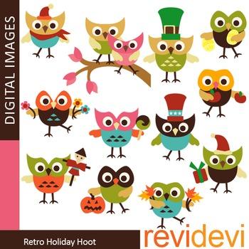 Cute holiday owls clip art (teacher resource clipart)