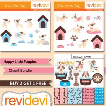 Cute little puppies (3 packs) pet, dog, bones, dog house