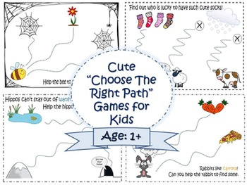 """Cute mazes for kids (adapted for age 1+). """"Choose the righ"""