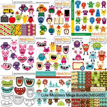 Cute monsters clip art Mega Bundle (9 packs)
