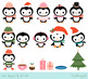 Cute penguins clipart set, Christmas penguin clip art coll