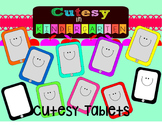Cutesy Clipart- Cutesy Rainbow Tablets (Personal and Comme