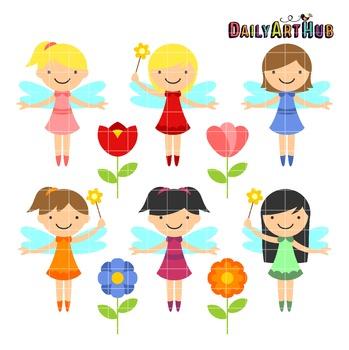 Cutesy Garden Fairies Clip Art - Great for Art Class Projects!