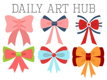 Cutesy Hair Ribbon Clip Art - Great for Art Class Projects