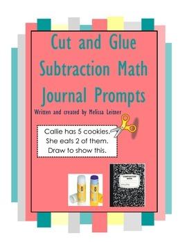 Cut/paste subtraction math journal prompts