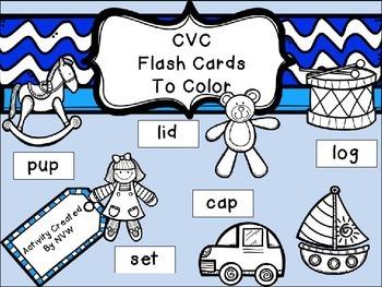 CvC Coloring Flash Cards