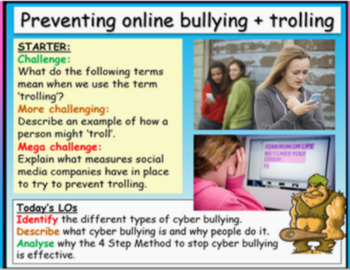 Cyber bullying and e-safety (cyberbullying 1hr PP, activit