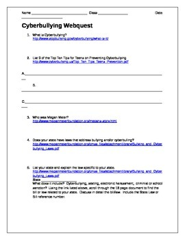 Cyberbullying Webquest