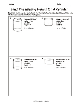 Cylinders - Find The Height When Given The Radius And The Volume