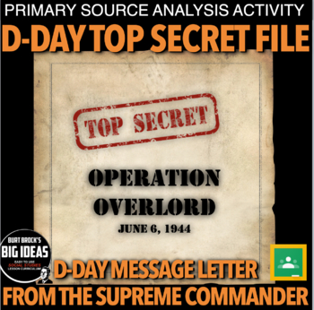 D-Day Secret File Primary Source Activity for World War II (WWII)