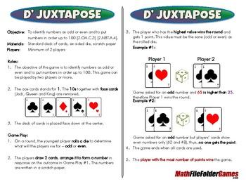 D' Juxtapose - 2nd Grade Math Game [CCSS 2.OA.C.3] [CCSS 2