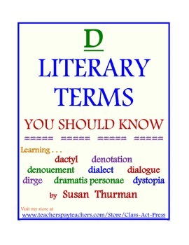 """""""D"""" Literary Terms You Should Know (5 Pages, Answer Key In"""