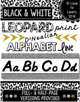 D'Nealian Alphabet Line - Black & White Leopard Print