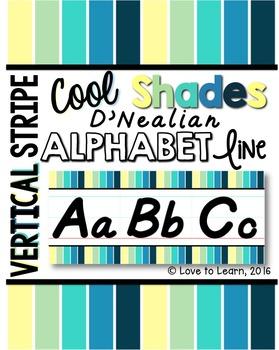 D'Nealian Alphabet Line - Cool Shades Vertical Stripes