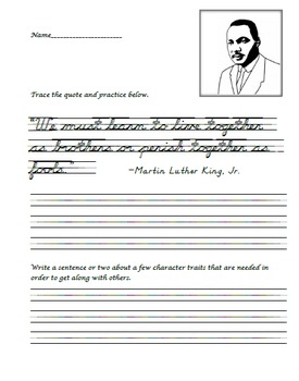 D'Nealian Handwriting Practice - Martin Luther King, Jr. Quote